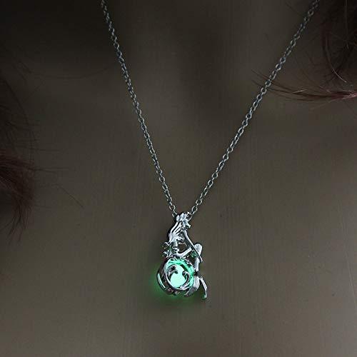 TFOOD Piedra Collar para Mujer,7 Chakra Verde Piedra Luminosa Media Lu