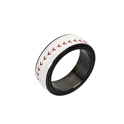 LYLY Anillos de cadena giratorios para aliviar el estrés para hombres y mujeres, anillo de boda, regalo de joyería (color de la piedra principal: azul oscuro, tamaño del anillo: 13)