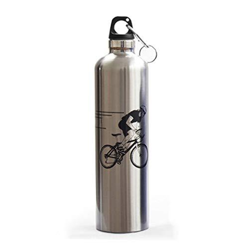 LONGLING Bouteille d'eau de Sports de Plein air, Tasse Thermos en Acier Inoxydable à Double Couche, Bouteille d'eau en Acier pour vélo, Pot d'escalade (750 ML)(Silver)