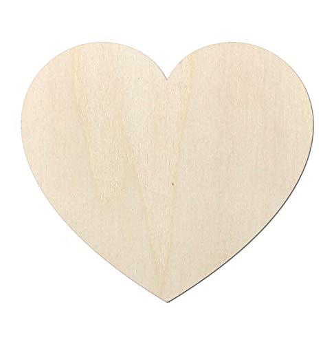 Kleenes Traumhandel Schönes Herz aus Holz Typ2 - Herzform - Ideal als Deko zur Hochzeit - für Wand & Tür (112x100 mm)