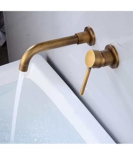 Grifo de baño 360°, montaje en pared, giratorio, monomando, grifo mezclador giratorio, grifo de lavabo, grifo de baño, grifo de ducha, aceite de bronce (vintage dorado)