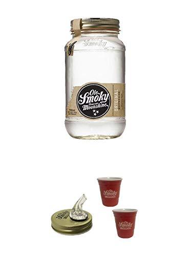 Ole Smoky Moonshine Original (100 proof) 0,7 Liter MAGNUM + Ole Smoky Ausgiesser + Ole Smoky Shot Becher rot 2 Stück
