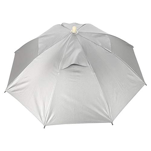 Gorgeri Paraplu voor hoeden, vismuts, vrije handen voor buiten, UV-bescherming, waterdicht, licht