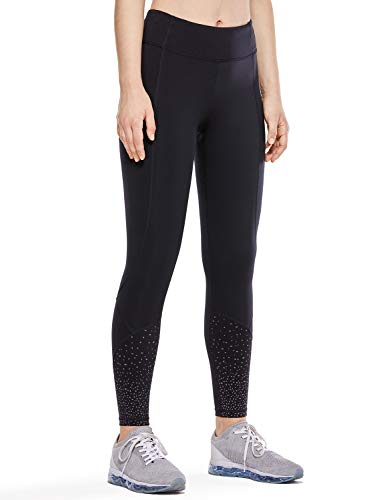 CRZ YOGA Mujer Compression 7/8 Leggings Deportes Running Fitness Pantalon con Bolsillos-63cm Negro 25'' R421 36