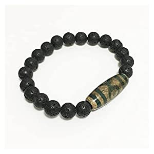COKILU Energiegrau grün Natur Tibetan dzi Agate armbänder Vintage Buddha gebet neunäugige Agate Charme Schwarze Lava armbänder männliche heilende Stein abwöhne aus bösen spirituosen