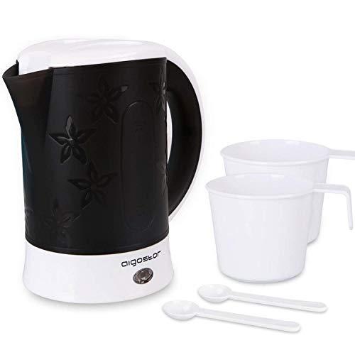 Aigostar Cooltravel - Reisewasserkocher Kompakter Kleiner Wasserkocher 650W, 0,6 Liter Mini Wasserkocher, automatische Abschaltung mit Kochschutz, Inklusive 2 Tassen und 2 Teelöffel, Shwarz.