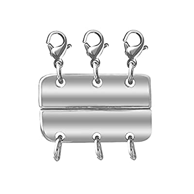 Layered Magnetic Necklace Clasp Separator for Stackable Necklaces Jewelry Bracelet Chains Clasps (White Gold A, Triple Clasps)