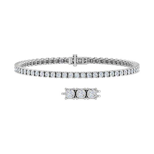 1 Carat Pave Set Diamond Tennis Bracelet in 10K White Gold (7 Inch)