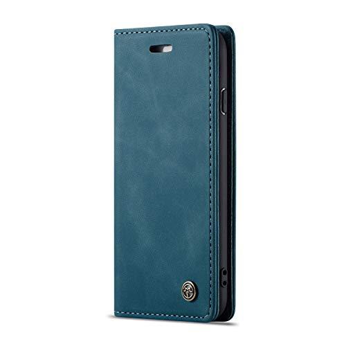 JMstore Custodia Compatibile con iPhone 6/7/8/SE 2020, Custodia in Pelle Cover a Libro Portafoglio Flip Caso Custodia Pelle con Magnetica (Blu)