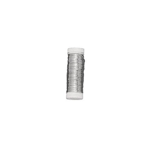 Rayher 2402400 Silberdraht mit Kupferkern, 0,40 mm ø, Kunststoffspule 100 m, nickelfrei, Silberdraht zum Basteln, Bindedraht, Wickeldraht, Schmuckdraht