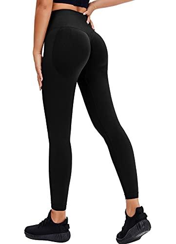 RIOJOY Scrunch Butt Leggings Damen High Waist Seamless Push Up Booty Leggins Hose für Sport Yoga Fitness Gym Workout, Schwarz 32/34