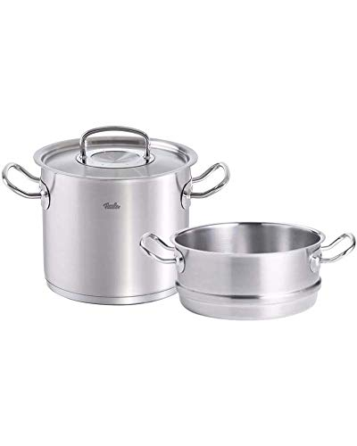 Fissler original-profi collection , Stainless Stock Pot & Steamer Set, 10-Inch, Stainless Steel Cookware, Compatible Stovetops: Induction, Gas, Electric, Dishwasher Safe