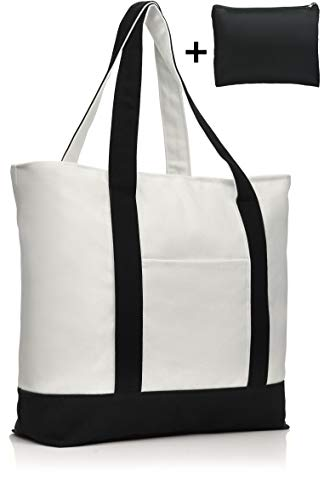 COTTARA Premium Baumwolltasche groß – hochwertige Tragetasche mit Reißverschluss und gratis Polyester Tasche – ideal als Einkaufstasche Shopper Strandtasche – 30 Liter (schwarz weiß, 40x15x38 cm)