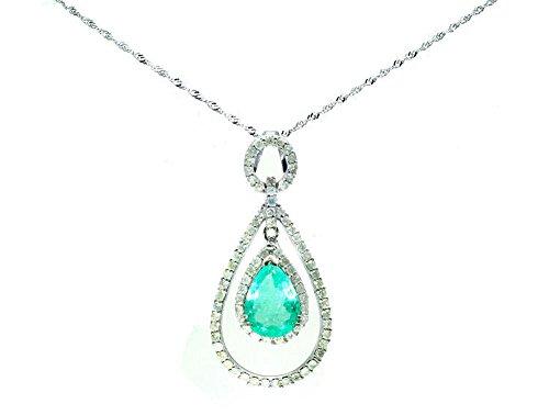 4.30ct Colombiano smeraldo e diamante collana in oro bianco 18K