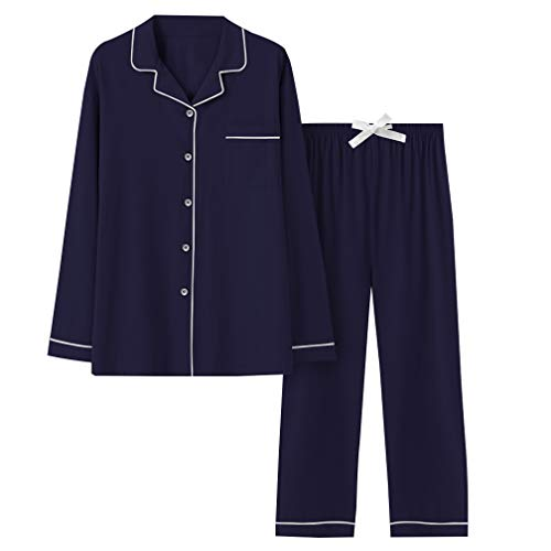 COLORFULLEAF Soft Knit Cotton Pajamas for Women Button Front Long Sleeve PJ Top & Lounge Pants with Pockets (Navy Blue, S)