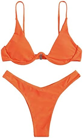 Verdusa Women s Sexy Triangle Bathing Two Pieces Swimsuit Bikini Set Orange M product image