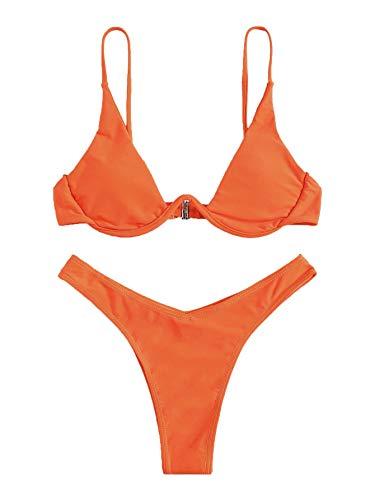 Verdusa Women's Sexy Triangle Bathing Two Pieces Swimsuit Bikini Set Orange M