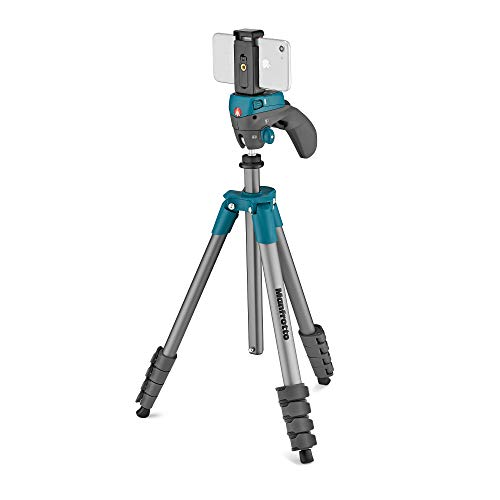 Manfrotto Compact Action Smart Aluminum 5-Section Tripod Kit with Hybrid Head and Phone Clamp, Blue (MKSCOMPACTACNBL), Compact Action 61'