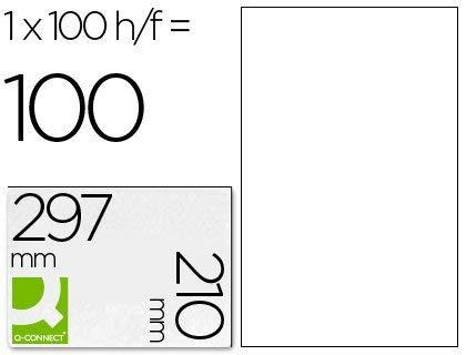 Q-Connect Etiqueta Adhesiva KF10664 Tamaño 210X297 Mm Fotocopiadora Láser Ink-Jet Caja Con 100 Hojas Din A4