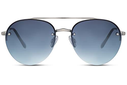 Cheapass Gafas de Sol Sin Montura Piloto Gafas de Sol Plateadas Metálicas Graduales Lentes Azules UV400 protegidas Hombres Mujeres
