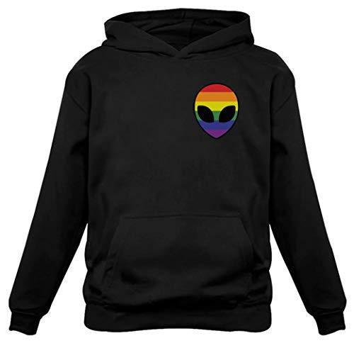 Tstars - Gay Alien Head UFO Rainbow Flag Gay Pride Hoodie Large Black