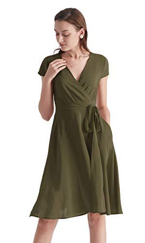 LilySilk Elegante Seidenkleider Abendmode Partykleider Cocktailkleider Damen Kurz aus Seide Verpackung MEHRWEG (M, Oliv)