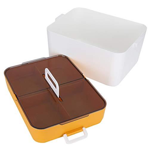 Pinsofy Caja organizadora, Caja de Almacenamiento Interior abatible Transparente, Suministros de Almacenamiento de Doble Capa de plástico Duradero portátil Organizador doméstico para Oficina en casa