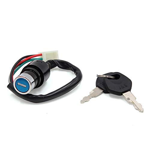 DyniLao - Bloqueo de interruptor de encendido de 4 cables de seguridad para scooter de motocicleta con juego de 2 llaves para DY90