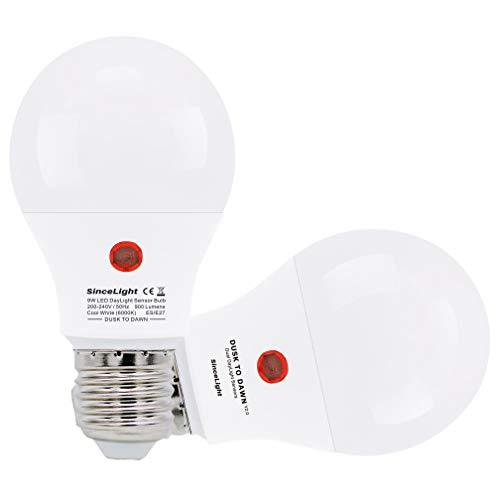 LED Lampe mit doppelt genial Tageslicht Sensoren für Außenbeleuchtung (Dämmerung bis zum Morgengrauen) / 9 Watt / 200-240Vac / 2er Pack (Kaltweiß · 6000K, E27)