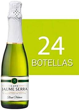 Lote de 24 Botellines Botellas Cava Jaume Serra Brut Nature 375ml - Vinos, licores y Cavas Baratos para Detalles de Bodas