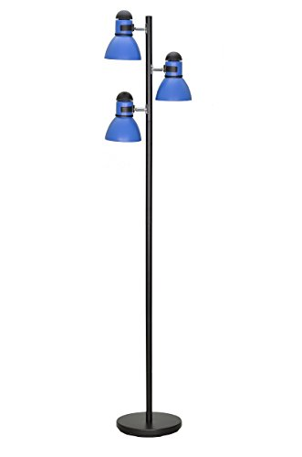 "Aspen Creative 45002-3, 3-Light Adjustable Tree Floor Lamp, Modern Design in Black & Blue, 64"" High"