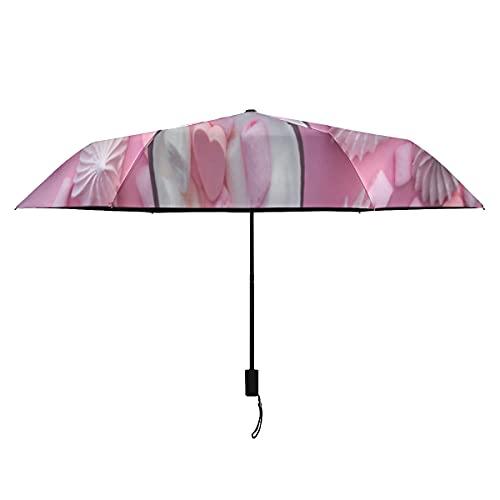 Paraguas para niños, color rosa intenso, color caramelo y crema, resistente al viento para mujeres, portátil, ligero, resistente al viento, para niños grandes, para el sol, perfecto para la