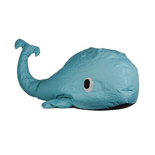 RM E-Commerce Pouf bleu en forme de baleine pour l'intérieur et extérieur, Sac sans rembourrage, nylon, petit modèle 150x60x65cm