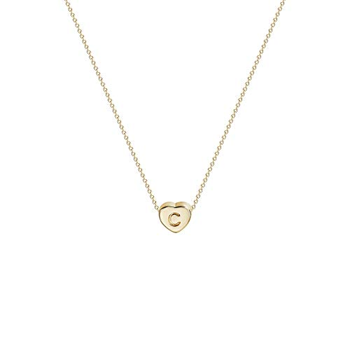 Tiny Gold Initial Heart Necklace14K Gold Filled Handmade Dainty Personalized Heart Choker Necklace For Women Letter C