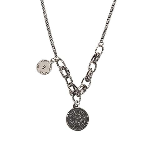 Collar Japón y Corea del Sur Plata tailandesa 925 Collar con letras inglesas Mujer Tarjeta redonda simple Collar corto de plata esterlina retro