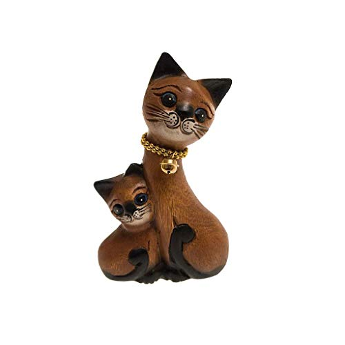 ROMBOL Katze, Katzenmutter mit Kätzchen, klein, Holz, Holzfigur, Deko, Dekoration, Dekofigur, Holzdeko, Skulptur, braun