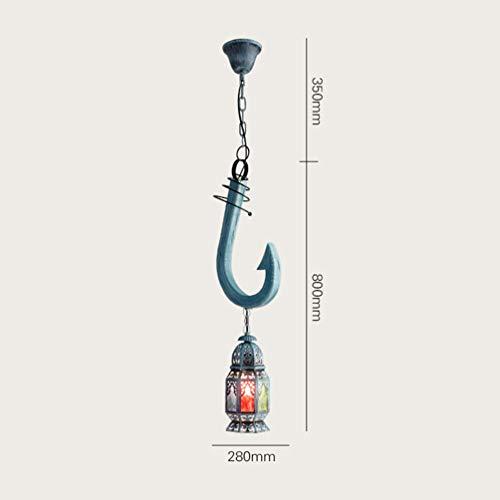 XP hanglamp van massief hout, vintage haak, oceaankleuren, decoratie voor kroonluchters Iron Art Pasta bar hangvoorziening voor buiten Shop verlichting enkele kop E27 28 * 80cm