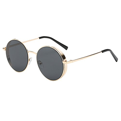 joyMerit Gafas de Sol Unisex para Hombre para Mujer, Lentes de Espejo Redondas Vintage, Gafas UV400 Hipster - Estilo 1-Gold-Gray