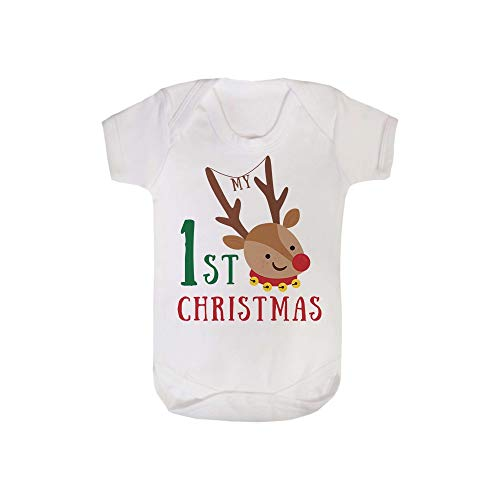 six pound tees Christmas Baby Grow My First Christmas 1st Xmas Reindeer Cute Snow NP6 - White - 12-18 Months