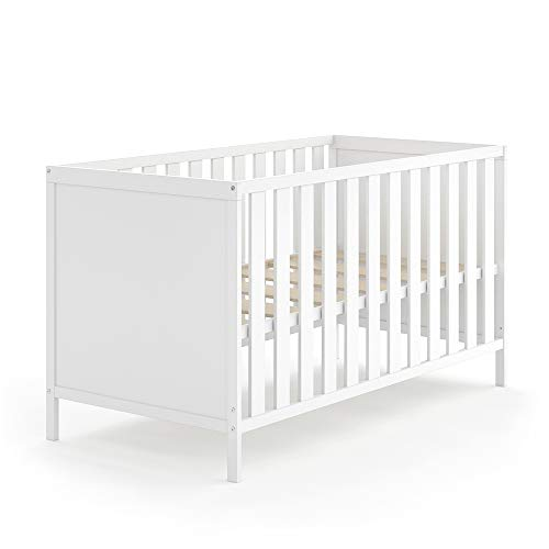 VITALISPA Babybett JONAS 70x140cm Gitterbett Umbaubett Kinderbett umbaubar (Weiß)