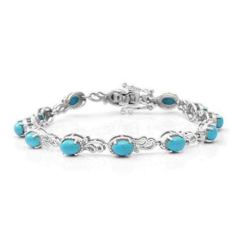 TJC Sleeping Beauty Turquoise Station Bracelet for Womens in 925 Sterling Silver Size 7 Inches Blue Coloured December Birthstone, TCW 5.52ct