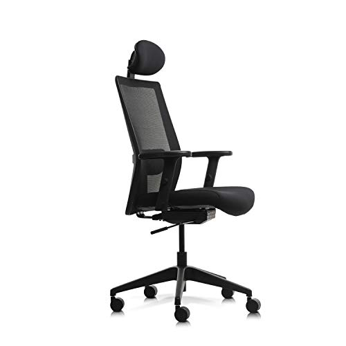 Wipro Furniture Adapt High Back Executive Ergonomic Office Chair with Automatic Weight Sensing Mechanism and Height Adjustable Arms (Black)