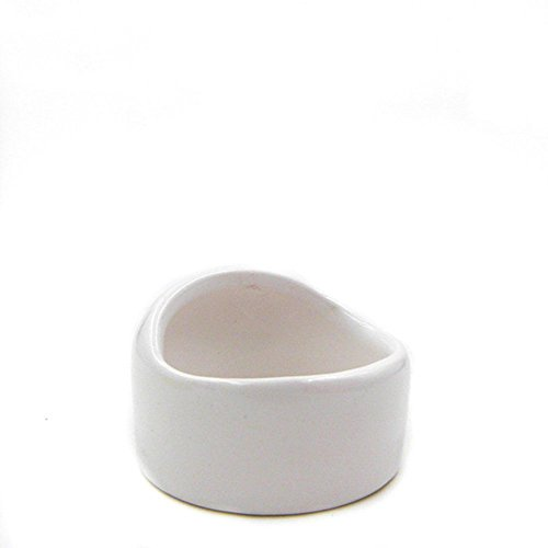 ANONE Ceramic Hamster Bowl No Spill No Turnover Food Water Dish for Guinea Pig Rodent Gerbil Cavy Small Animals (White)