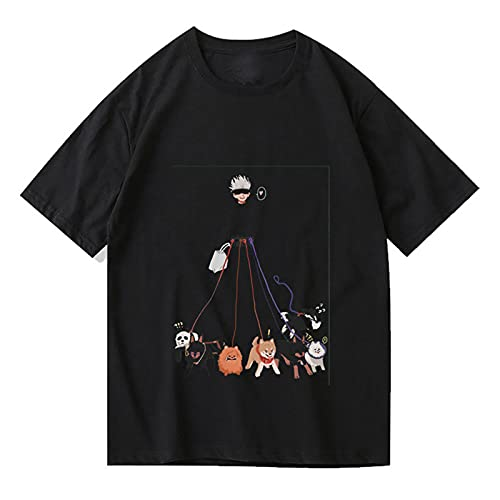 Camiseta para Hombre Impresa Jujutsu Kaisen Manga Corta Anime Japonés Gojo Satoru Cosplay Estilo Casual Verano Pullover T-Shirt,Negro,XS