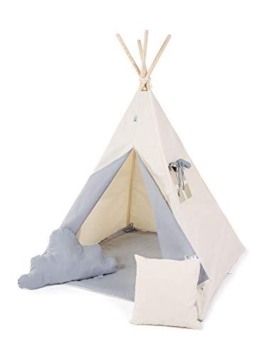 Golden Kids Kinder Spielzelt Teepee Tipi Set für Kinder drinnen draußen Spielzeug Zelt Indianer Indianertipi Tipi mit & ohne Zubehör (mit Zubehör (klein), Grauer Wolf)