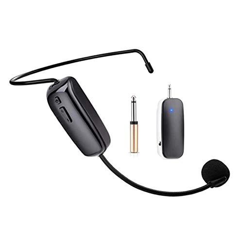 happygirr Auriculares inalámbricos con micrófono de 50 m Transmisión efectiva UHF Handheld 3,5 mm 6,35 mm Dual Puertos Set Negro
