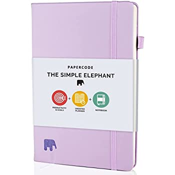 Papercode Daily Planner 2021-2022 - Simple Elephant Undated Daily Weekly and Monthly Calendar Planner for Productivity & Goal Setting Lilac