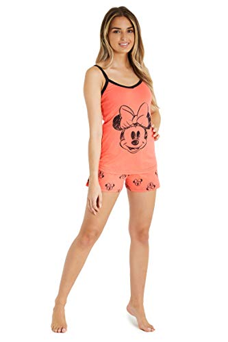 Disney Lounge Wear - Set de pijama para mujer, 100% algodón, Mickey Mouse y Minnie Mouse Rojo rosso S