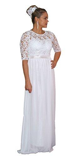 Unbekannt Brautkleid Spitze lang Hochzeitskleid S M L XL XXL XXXL XXXXL Braut Kleid Standesamt Weiß (50)