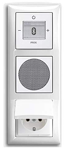 Busch Jäger Unterputz UP Bluetooth Radio 8217 U (8217U) Komplett-Set Balance SI alpinweiß + Lautsprecher + 20EUK-914 Klapp-Steckdose Radioeinheit in 3 fach Rahmen integriert, horizontal oder vertikal